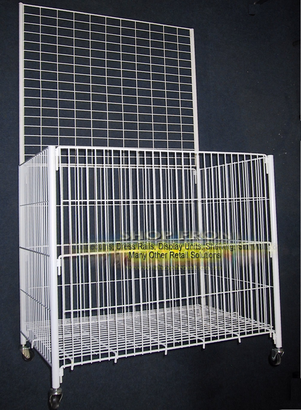 Large White Dump Basket with Grid Mesh