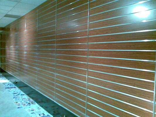 cherry slatwall installed